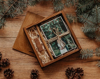4x6 wood print box | Vintage 4x6 photo box for photos and USB drive (15x10 cm photo packaging)