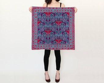 Teal & Coral Floral Folk Silk Scarf