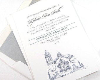 University of Arizona Graduation Announcement, UA, Grad Announcements, Arizona State, Tech, University, Graduation Cards (set of 25)
