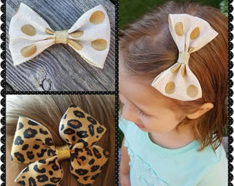 Leopard print hair bow/ gold polka dot bow/ burlap hair bow