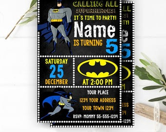 INSTANT DOWNLOAD - Batman Invitation, Batman Invites,Batman Superheroes Dark Knight,Batman Birthday Invitation,Superhero Birthday Invitation