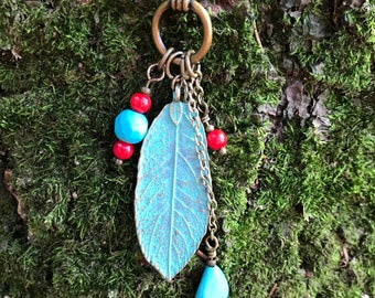 """Turqouise and Red leaf Pendant 33"""" chain"""