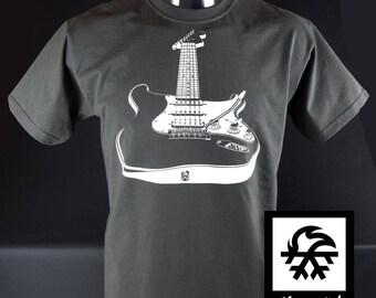 T-shirt Stratocaster Rock n Roll guitar fender Illustration by Waveslide
