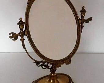 Psyche brass table mirror