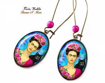 Frida Kahlo and the cat earrings painter bronze-n-roses gift