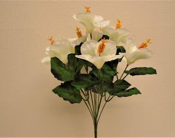 "CREAM Hibiscus Bush 10 Artificial Silk Flowers 19"" Bouquet 6215CR"