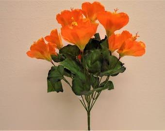 "ORANGE Hibiscus Bush 10 Artificial Silk Flowers 19"" Bouquet 6215OR"