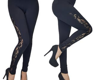Womens Ladies Full Length Skinny Fit Leggings With Lace Side Panel 6 8 10 12 14 16 18
