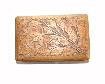 Carved Wooden  Box with Secret Slide Out Lock. Trinket Box. Jewellery Box. Box. Carved Box. Folk Art. Decorative Box. Treen. Treenware. Folk