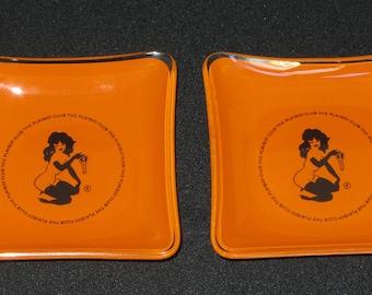 Vintage 1960s Pair of Playboy Club Ashtrays, Orange and Black