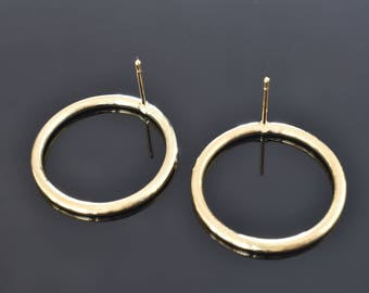 Single ring earring post, EA-13G, 2pcs, 25x2mm, 16K gold plated brass, Nickel free plating (Palladium), Not easily tarnished