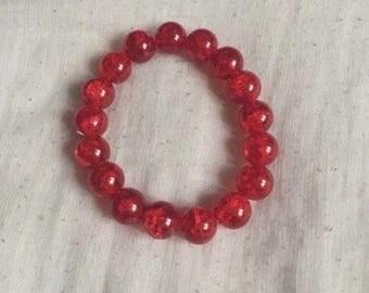 Red Glass Beaded Bracelet