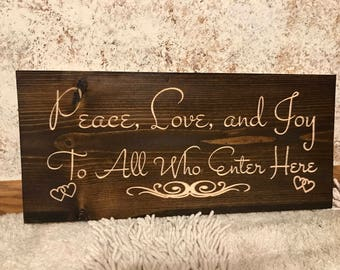 Rustic Engraved PEACE, LOVE, and JOY