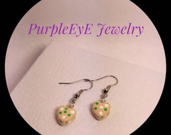 Polymer clay, cream, heart,white,green, polka dot, earrings