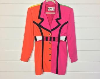 Vintage 1990s Neon Colorblock Blazer / Caged Waist / Made by Nina K / Supermodel Era / Black Trim