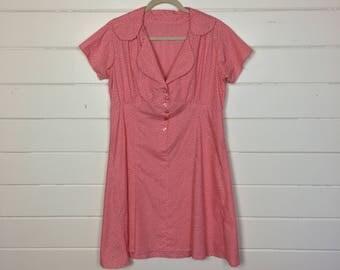 Vintage 1960s Pink Floral Shirtdress / Handmade / Day Dress / Tiny Flowers / Cotton Dress