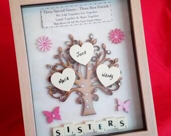 PERSONALISED SISTERS TREE frame keepsake gift picture