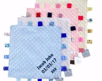 Baby Personalised Snuggle blanket with tags -Embroidered with name and or DOB Or anything you wish