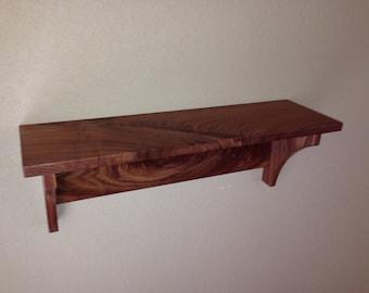 Country Walnut Wall Shelf