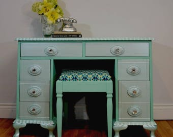 Mint Desk and Stool