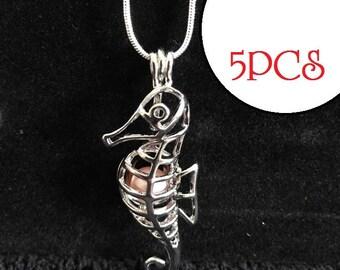 Bulk of 5pcs - Choose Silver cages pendant SEAHORSE pearl locket