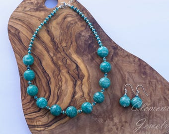 Beaded Gemstone Jewelry, Amazonite Beaded Necklace with Czech Glass and Silver Clasp with Earrings
