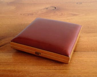 Square compact mirror - Pocket - vintage - leather - France