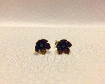 Natural Solid Brass Floral Stud Earrings