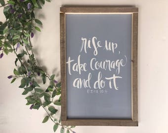 Rise Up Sign | Hand Lettering on Wood