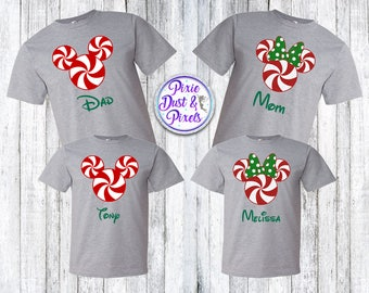 Mickey and Minnie Inspired Peppermint Christmas Family Shirts