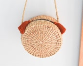 Crossbody bag • Straw bag • Weaving seagrass(water hyacinth) with knitting strap boho bag in round shape •included brown tassel keychains