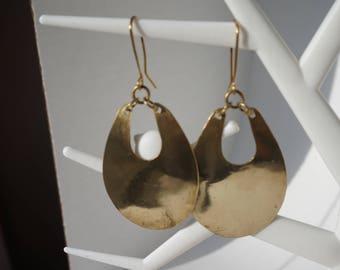 Brass raindrop earrings