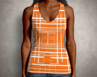 Stripes, Shirt, Wife Gift, Orange, Print, Top, Retro, Print, 60s, Girlfriend Gift, Tank Top, Blouse, Gift for Her, Tank, Stripes,  Print