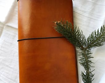 Genuine Leather Journal Cover - Saddle Tan -