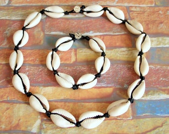 Necklace Bracelet cowrie shell necklace boho chic cowry shell set surf surfer surfing