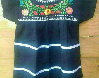 Mexican Boho Black baby dress size 6-12 months