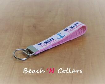 Navy Princess & Anchor Key Fob/Wristlet