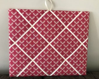 Fabric Memo Board- Pink Stag Antler fabric