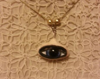 OOAK Hand scuplted EYE Necklace. Comes in Little EYE box.
