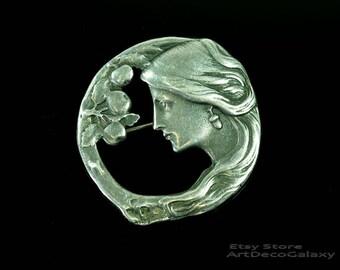 Art Nouveau Silver Brooch Pendant-Signed