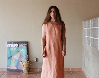 90s Linen Midi Dress | Salmon
