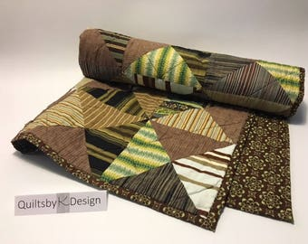Handmade Modern Throw Quilt_brownstripe