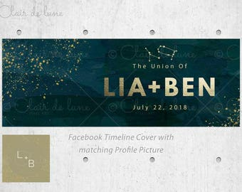 Stardust: Pre-made Facebook Set, Facebook cover and Profile picture, Facebook Header, Faux Gold Foil and watercolor background, Zodiac