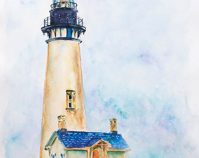 Lighthouse painting ORIGINAL Watercolor Painting, Lighthouse Watercolor  Art, Lighthouse Art, Beacon Watercolor Lighthouse, Nautical art