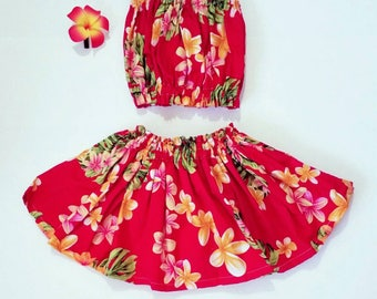 kids hula skirt, girls hula outfit, baby / toddler luau outfit, kids  luau birthday, 3 piece set, kids clothes, girls clothing