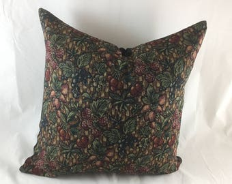 Tapestry weave floor cushion with plain brown back