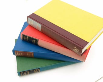 Set of 4 Vintage Books in Rainbow Colours