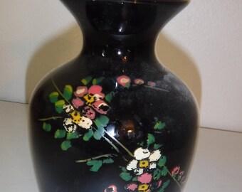 Antique type glass floral vase, black, vintage 1940's
