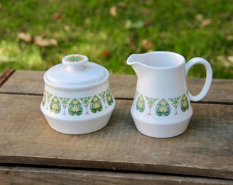Sugar Canister - Cream Pitcher - Vintage Sugar and Cream - Noritake Sugar and Cream - Sugar and Cream Set - Green White Sugar Cream Set