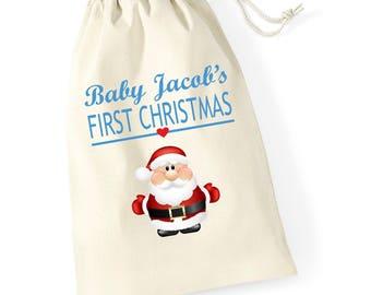 Personalised Santa Hug 2 Babys First Christmas Santa Sack Reindeer Xmas Present Stocking Drawstring Keepsake Tumblr Pintrest